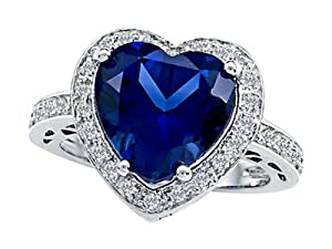 Star K 10mm Heart-Shape Created Sapphire Engagement Wedding Ring Size 7 by Star K