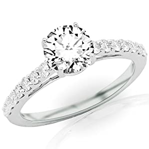 1.4 Carat IGI Certified 14K White Gold Classic Graduating Pave Set Diamond Engagement Ring by Chandni Jewels