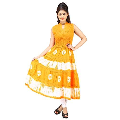 AnjuShree-Choice-Womens-Cotton-Hand-Dyed-Orange-Stitched-Anarkali-Kurti