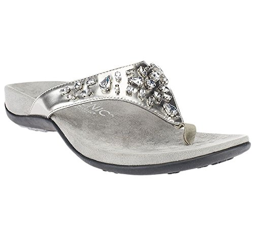 Vionic With Orthaheel Technology Womens Pearl Sandal Pewter Patent Wide Size 9