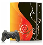 Orange and Black Swirl Skin for Sony Playstation 3 Console