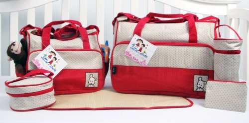 SoHo Designs - Royal Red Diaper Bag with Changing Pad 6 pieces Set