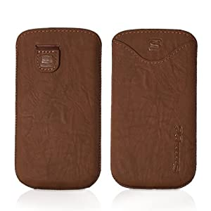 Snugg Blackberry Q10 High Quality Case Leather Pouch Case Cover with Card Slot, Elastic Pull Strap and Premium Nubuck Fibre Interior Lifetime Guarantee - Distressed Brown