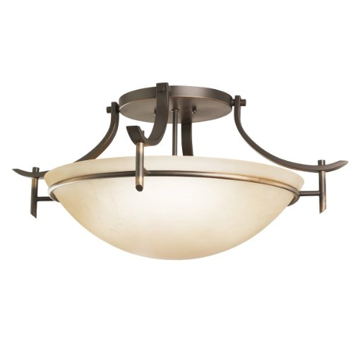 Kichler Lighting 3606OZ 3-Light Olympia Incandescent Semi-Flush Mount Ceiling Light, Old Bronze
