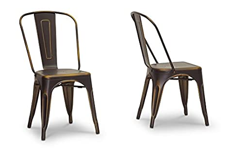 French Industrial Bistro Chair in Antiqued Copper with Chanasya Polish Cloth Bundle (Set of Two)