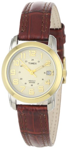 Timex Women's T2N436 Elevated Classics Sport Chic Bi-Metal Tone Brown Leather Strap Watch