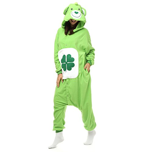 Adult Clover Good Luck Care Bear Onesie Polar Fleece Pajamas Cartoon Sleepwear Animal Halloween Cosplay Costume Unisex (XL (Height 5'10-6'1)) (Adult Care Bear Costume compare prices)