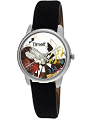 Timelf Analog Multi Colour Dial Women Casual Watch In Silver Round Case And Black Leather Strap