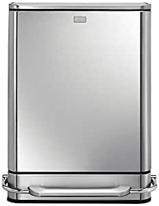 simplehuman Steel Bar Step Trash Can Recycler, Stainless Steel, 48 L / 12.7 Gal