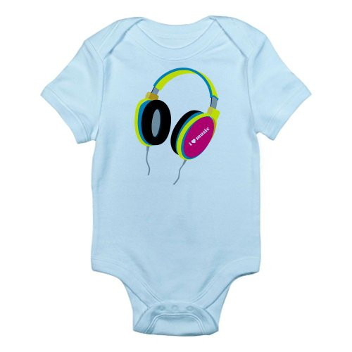 Cafepress House Music Headphones Infant Bodysuit - 12-18M Sky Blue