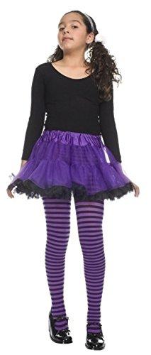 Child Sm (30-38 lbs), Black/Orange & Black/Purple Striped Opaque Tights-2Pack