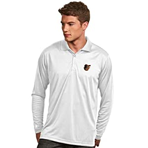 Baltimore Orioles Long Sleeve Polo Shirt (White) by Antigua