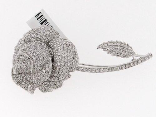 Fancy Brooch Flower Pin .925 Sterling Silver