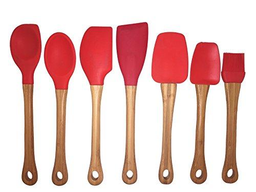 Premium 7 piece bamboo amp silicone kitchen utensil set red home