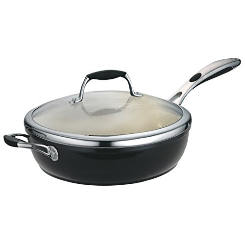 Tramontina 80110/021Ds Gourmet Ceramica 01 Deluxe Covered Deep Skillet, 11-Inch, Metallic Black