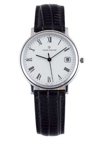 Claude Bernard Men's 70149 3 BR Classic Gents Black Leather White Dial Watch