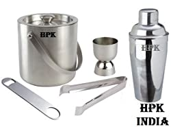HPK-INDIA COCKTAIL SET - 1 ICE BUCKET,1 COCKTAIL SHAKER , 1 OPENER , 1 TONG, 1 PEG MEASURE DOUBLE GLASS