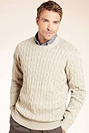 XXXL Blue Harbour Pure Cotton Cable Knit Jumper