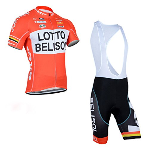 2014 Outdoor Sports Pro Team Men'S Short Sleeve Lotto Belisol Cycling Jersey And Bib Shorts Set front-70628