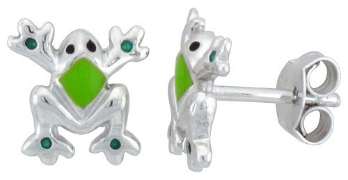 Sterling Silver Child Size Frog Earrings, w/ Green Enamel Design, 3/8 inch (9 mm) tall