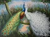 12X16 inch Animal Canvas Art Repro Perfect Peacock Couple