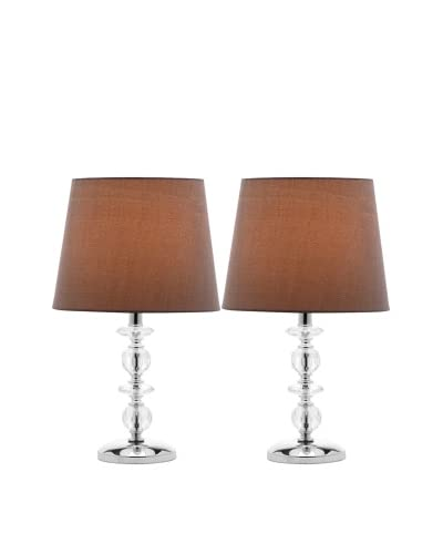 Safavieh Set of 2 Derry Stacked Crystal Orb Lamps, Chrome/Gray