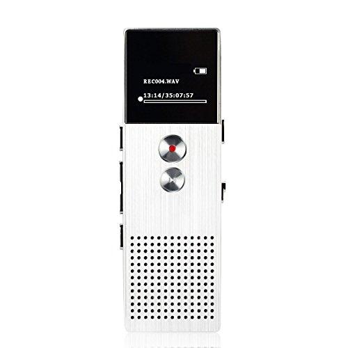 AGPtEK M23 容量8GB 小型ボイスレコーダー 録音機 音楽再生/FMラジオ機能 スピーカー搭載 マイクロSDカード32GBに対応(シルバー)