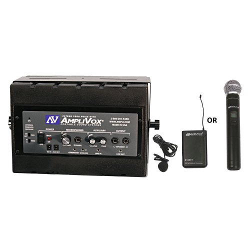 Amplivox Sw1230 Mity-Box 16-Channel Compact Pa System With Amplified Speaker And Uhf Wireless Microphone