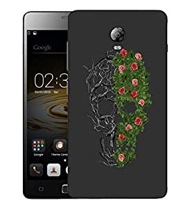 Snoogg Floral Skull Designer Protective Back Case Cover For LENOVO P1 TURBO