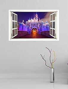 Vinylgraphicsonline Sleeping Beauty Castle Disney Full Colour Magic Window Image Wall Sticker Style2