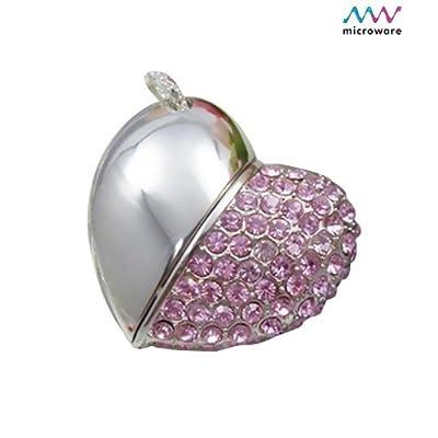 Microware 16GB Pink Metal Heart ShMicroware Designer Pendrive