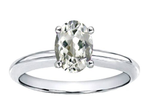 Tommaso Design(Tm) Genuine White Topaz Solitaire Engagement Ring In 10 Kt White Gold Size 6.5