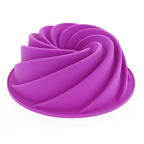 Elbee Premium Silicone Spiral Bundt Cake Pan - Turn Your Ordinary Cake into CULINARY ART - FDA-Grade/BPA Free (Heritage Cake Pan compare prices)