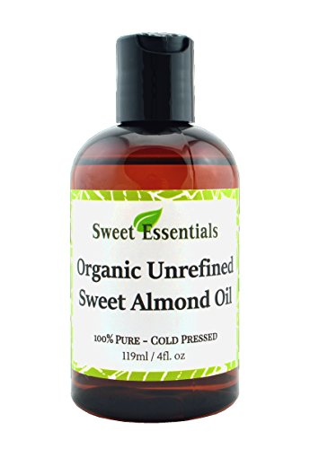 100% Pure Organic Unrefined Sweet Almond Oil - 4oz - Imported From Italy - Cold Pressed & Hexane Free - Natural Moisturizer - Great For Hair, Skin & Nails - By Sweet Essentials (Cold Pressed Almond Oil Organic compare prices)
