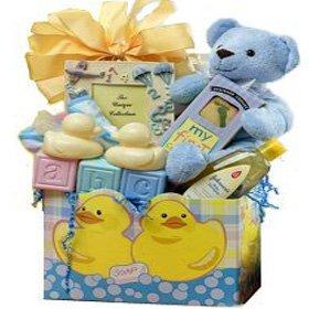 Sweet Baby Rubber Ducky Bath Time & Teddy Bear Baby Gift Basket - BABY BOY BLUE