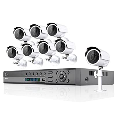 ELEC® New 16 Ch Channel CCTV DVR 2tb Hard Drive Hdmi Realtime CCTV Network H.264 Security DVR Home Surveillance System with 8 bullet outdoor cameras (White) Free E-cloud Elec-cvk-2016c2