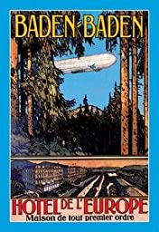 30 x 20 Canvas. Baden-Baden - Hotel de l\'Europe - Zeppelin Flies over the tands of timber