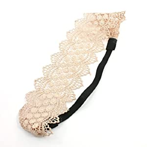Amazon.com: Pale Pink Crochet Lace Flowers Pattern Elastic Hair Band ...