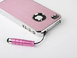 Pandamimi Pink Luxury Steel Aluminum Chrome Hard Back Case Cover for Apple AT&T Sprint Verizon iPhone 4S 4 4G NEWEST With Front and Back Screen Protective Film & Stylus