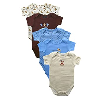 Luvable Friends Bold Colors Hanging Bodysuit, 5 Pack, Blue, 24 Months