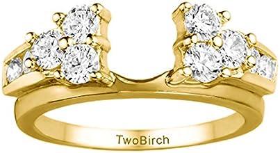14k Gold Three Stone Anniversary Ring Wrap with Diamonds 035 ct twt