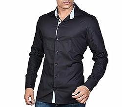 Dazzio Men's Slim Fit Cotton Shirt (DZSH0010_Black_42)