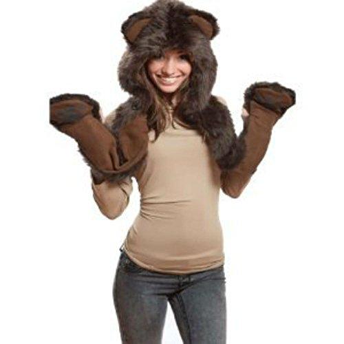Brown Bear Anime Animal Hats Hood Hoods Mittens Gloves Scarf Spirit Paws Ears (Bear Hood With Paw Scarf)