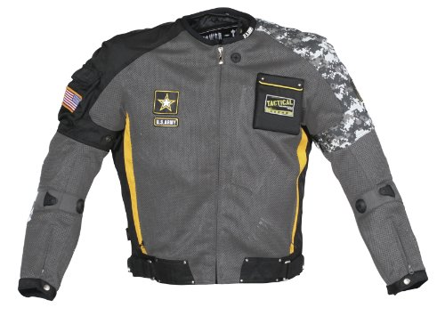 Power Trip Mens U.S. Army Delta Free Air Mesh Motorcycle Jacket Gray/Black/Yellow/Gray Camo Medium M