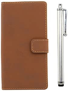 Apexel Retro Leather Phone Case for Sony Xperia Z2 - Frustration-Free Packaging - Brown