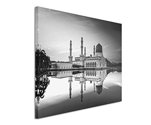 50x70cm Leinwandbild schwarz weiß in Topqualität Moschee am See morgens