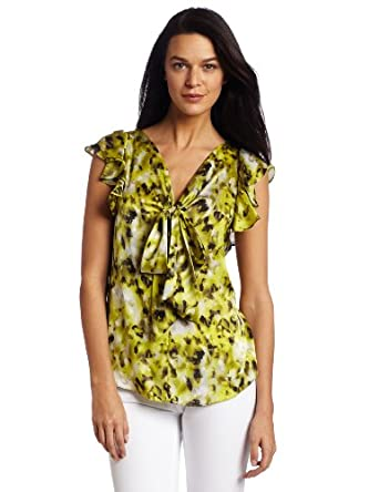 AK Anne Klein Women's Petite Modern Camouflage Blouse With Tie, Citrine Multi, Petite Large