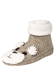 Teddy Design Knitted Booties