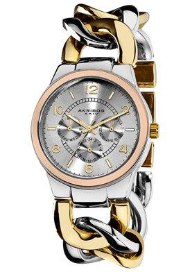 Akribos XXIV Akribos GMT Multi-Function Tri Tone Ladies Watch AK531TTR