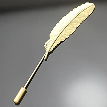 Q&Q Fashion Vintage Gold Tone Feather Leaf Navajo Zuni Style Lapel Stick Pin Brooch Badge,3.3""